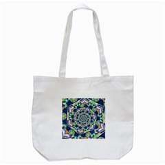 Power Spiral Polygon Blue Green White Tote Bag (white) by EDDArt