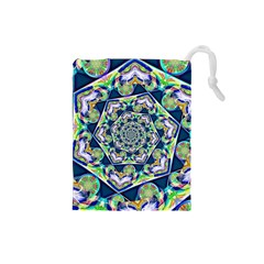 Power Spiral Polygon Blue Green White Drawstring Pouches (small)  by EDDArt