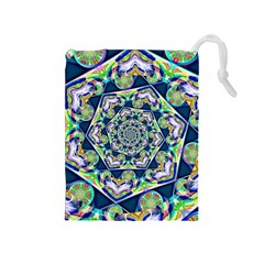 Power Spiral Polygon Blue Green White Drawstring Pouches (medium)