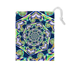 Power Spiral Polygon Blue Green White Drawstring Pouches (large)  by EDDArt