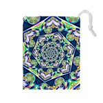 Power Spiral Polygon Blue Green White Drawstring Pouches (Large)  Front