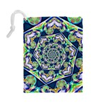 Power Spiral Polygon Blue Green White Drawstring Pouches (Large)  Back