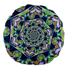 Power Spiral Polygon Blue Green White Large 18  Premium Flano Round Cushions