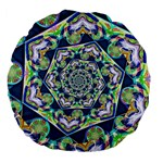 Power Spiral Polygon Blue Green White Large 18  Premium Flano Round Cushions Back