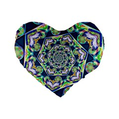 Power Spiral Polygon Blue Green White Standard 16  Premium Flano Heart Shape Cushions by EDDArt
