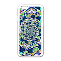 Power Spiral Polygon Blue Green White Apple Iphone 6/6s White Enamel Case by EDDArt