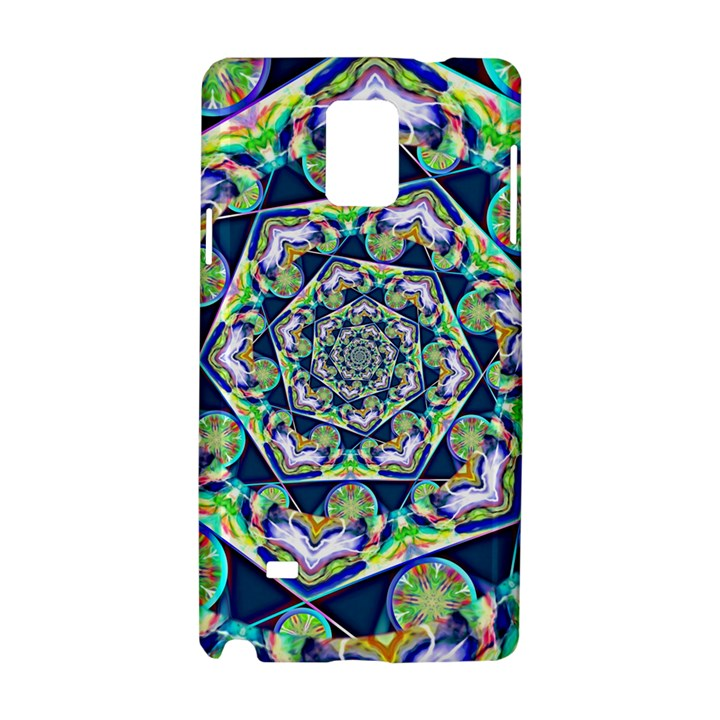 Power Spiral Polygon Blue Green White Samsung Galaxy Note 4 Hardshell Case