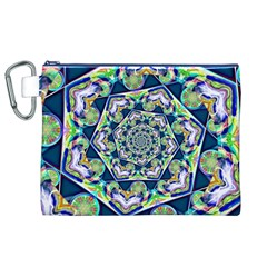 Power Spiral Polygon Blue Green White Canvas Cosmetic Bag (xl) by EDDArt