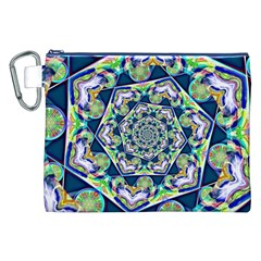 Power Spiral Polygon Blue Green White Canvas Cosmetic Bag (xxl) by EDDArt