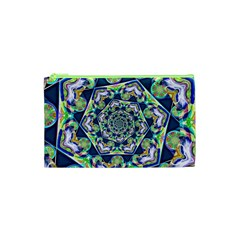 Power Spiral Polygon Blue Green White Cosmetic Bag (xs) by EDDArt