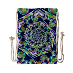 Power Spiral Polygon Blue Green White Drawstring Bag (small) by EDDArt