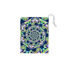 Power Spiral Polygon Blue Green White Drawstring Pouches (xs)  by EDDArt