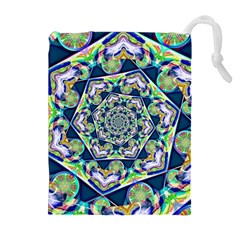 Power Spiral Polygon Blue Green White Drawstring Pouches (extra Large) by EDDArt