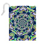 Power Spiral Polygon Blue Green White Drawstring Pouches (Extra Large) Back