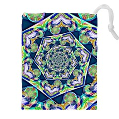Power Spiral Polygon Blue Green White Drawstring Pouches (xxl) by EDDArt