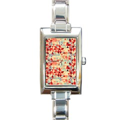 Modern Hipster Triangle Pattern Red Blue Beige Rectangle Italian Charm Watch
