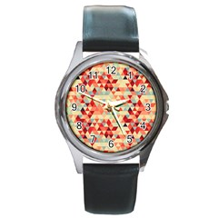 Modern Hipster Triangle Pattern Red Blue Beige Round Metal Watch by EDDArt