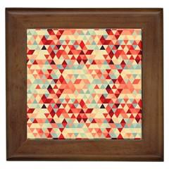 Modern Hipster Triangle Pattern Red Blue Beige Framed Tiles