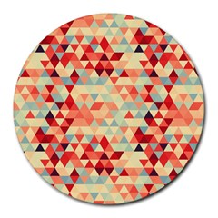 Modern Hipster Triangle Pattern Red Blue Beige Round Mousepads by EDDArt