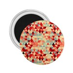 Modern Hipster Triangle Pattern Red Blue Beige 2.25  Magnets Front