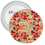 Modern Hipster Triangle Pattern Red Blue Beige 3  Buttons Front
