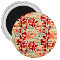 Modern Hipster Triangle Pattern Red Blue Beige 3  Magnets by EDDArt