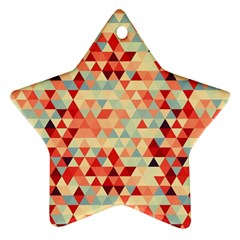 Modern Hipster Triangle Pattern Red Blue Beige Ornament (star)  by EDDArt