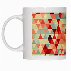 Modern Hipster Triangle Pattern Red Blue Beige White Mugs by EDDArt