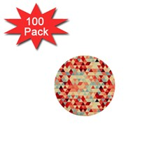 Modern Hipster Triangle Pattern Red Blue Beige 1  Mini Buttons (100 Pack)