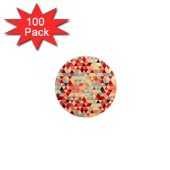 Modern Hipster Triangle Pattern Red Blue Beige 1  Mini Magnets (100 Pack)