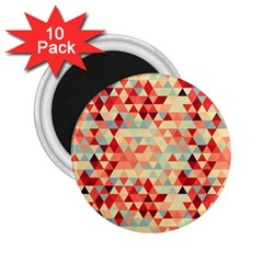 Modern Hipster Triangle Pattern Red Blue Beige 2 25  Magnets (10 Pack)