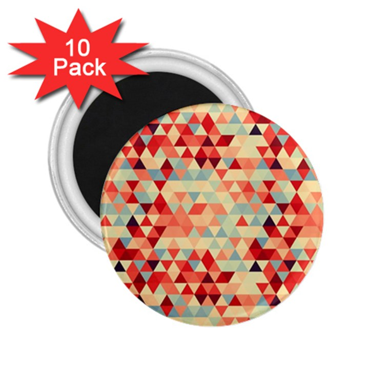 Modern Hipster Triangle Pattern Red Blue Beige 2.25  Magnets (10 pack)
