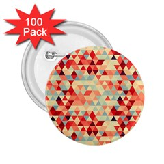 Modern Hipster Triangle Pattern Red Blue Beige 2 25  Buttons (100 Pack)  by EDDArt