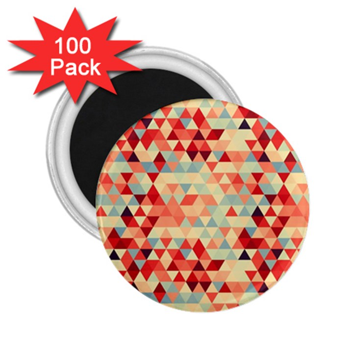 Modern Hipster Triangle Pattern Red Blue Beige 2.25  Magnets (100 pack)