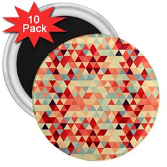 Modern Hipster Triangle Pattern Red Blue Beige 3  Magnets (10 Pack)  by EDDArt