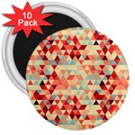 Modern Hipster Triangle Pattern Red Blue Beige 3  Magnets (10 pack)
