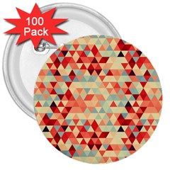 Modern Hipster Triangle Pattern Red Blue Beige 3  Buttons (100 Pack)  by EDDArt