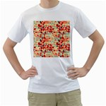 Modern Hipster Triangle Pattern Red Blue Beige Men s T-Shirt (White) (Two Sided)