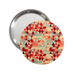 Modern Hipster Triangle Pattern Red Blue Beige 2 25  Handbag Mirrors