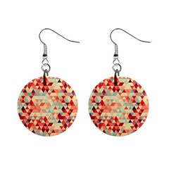 Modern Hipster Triangle Pattern Red Blue Beige Mini Button Earrings