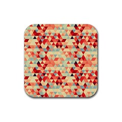 Modern Hipster Triangle Pattern Red Blue Beige Rubber Square Coaster (4 Pack)  by EDDArt