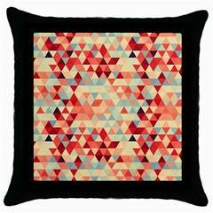Modern Hipster Triangle Pattern Red Blue Beige Throw Pillow Case (black) by EDDArt