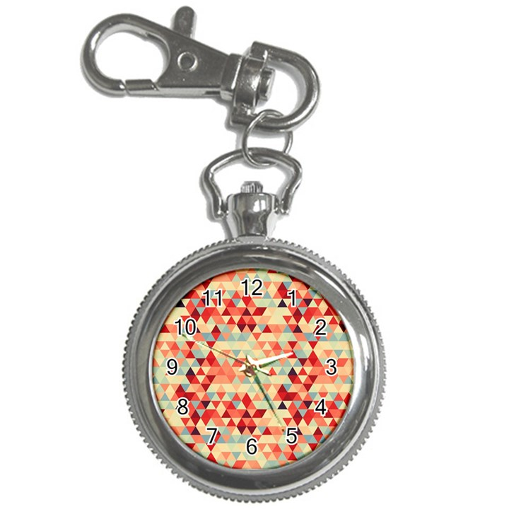 Modern Hipster Triangle Pattern Red Blue Beige Key Chain Watches