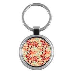 Modern Hipster Triangle Pattern Red Blue Beige Key Chains (round)  by EDDArt