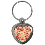 Modern Hipster Triangle Pattern Red Blue Beige Key Chains (Heart)  Front