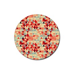 Modern Hipster Triangle Pattern Red Blue Beige Rubber Round Coaster (4 Pack)