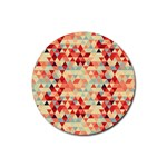 Modern Hipster Triangle Pattern Red Blue Beige Rubber Round Coaster (4 pack)  Front