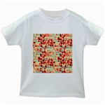Modern Hipster Triangle Pattern Red Blue Beige Kids White T-Shirts Front