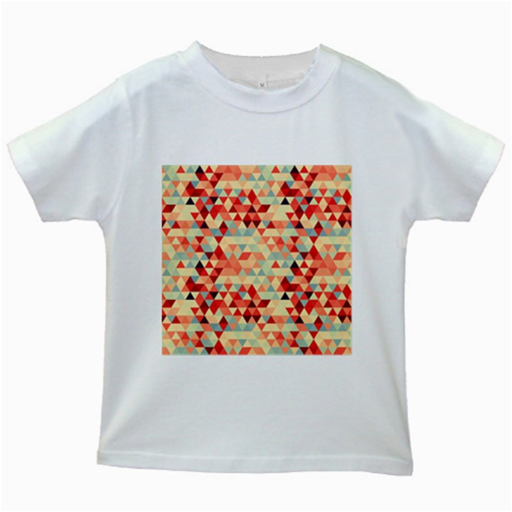Modern Hipster Triangle Pattern Red Blue Beige Kids White T-Shirts