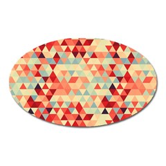 Modern Hipster Triangle Pattern Red Blue Beige Oval Magnet